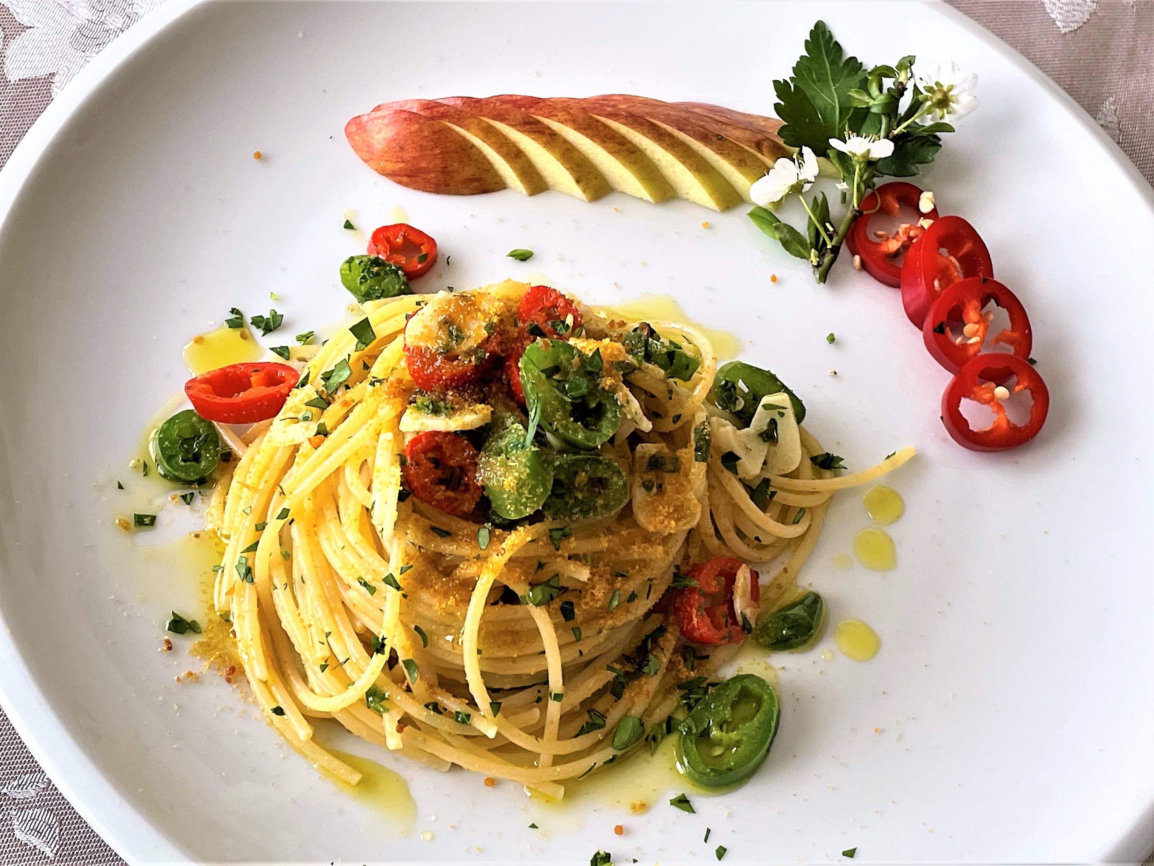 Spaghetti aglio olio peperoncino e bottarga